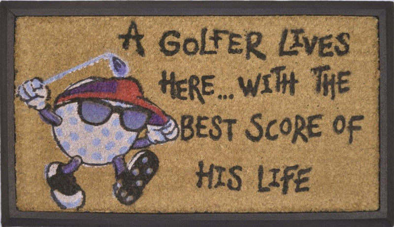 SOLEMATE DOOR MAT A GOLFER LIVES HERE WITH THE BEST SCORE OF THIS LIFE NATURAL COIR ON RUBBER OUTDOOR DOORMAT