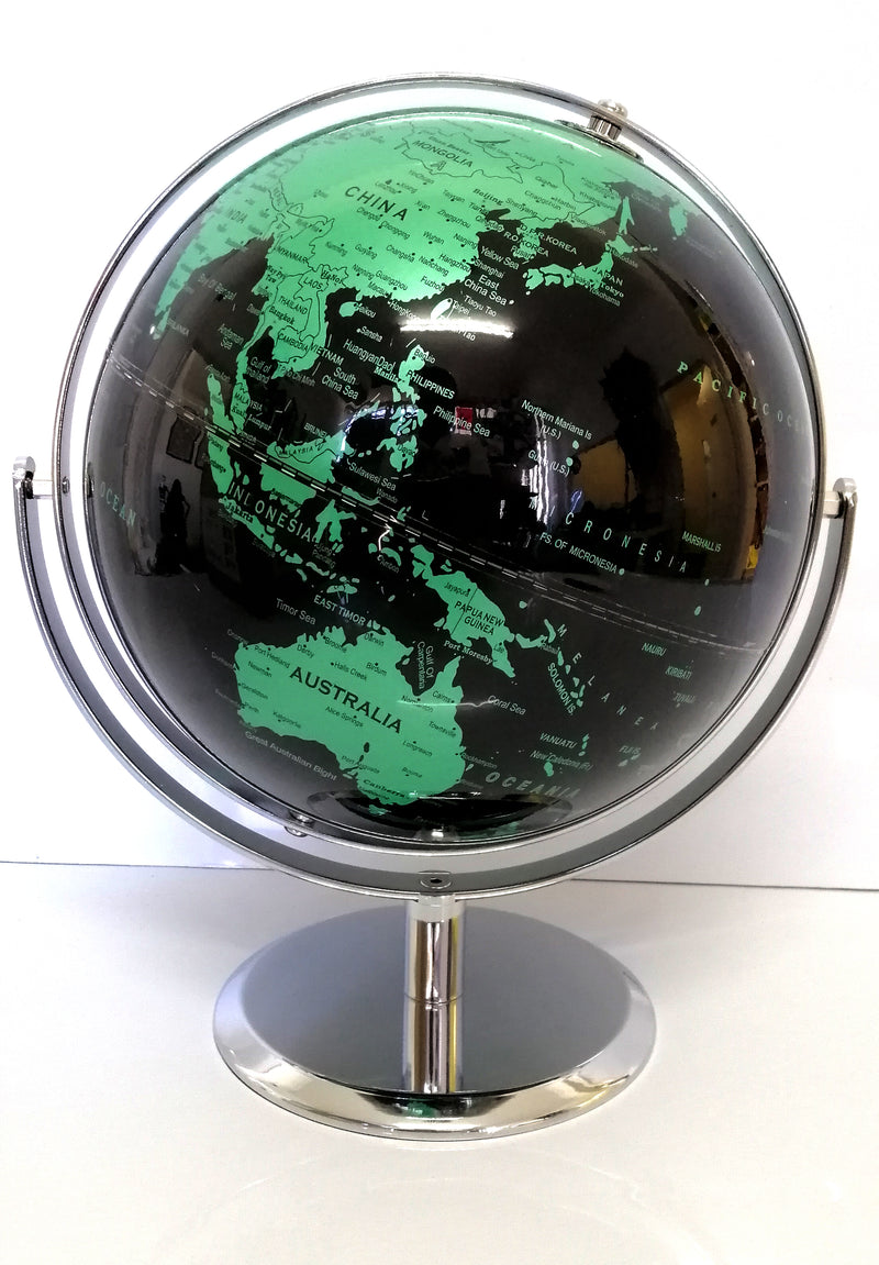 AMAZING HIGH QUALITY BLACK AND GREEN WORLD GLOBE DOUBLE AXEL CHROME BASE 25cm