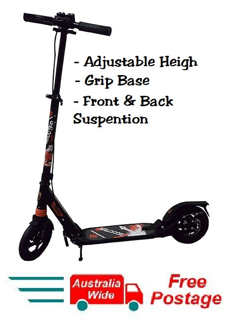 2018 BLACK FOLDING SCOOTER ADJUSTABLE HEIGHT SUSPENTION HAND DISK BREAK HW303