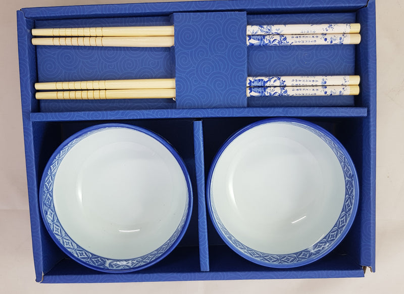 2 x CERAMIC CHINESE JAPANESE RICE SUSHI SASHIMI BOWLS WITH CHOPSTICKS HW317