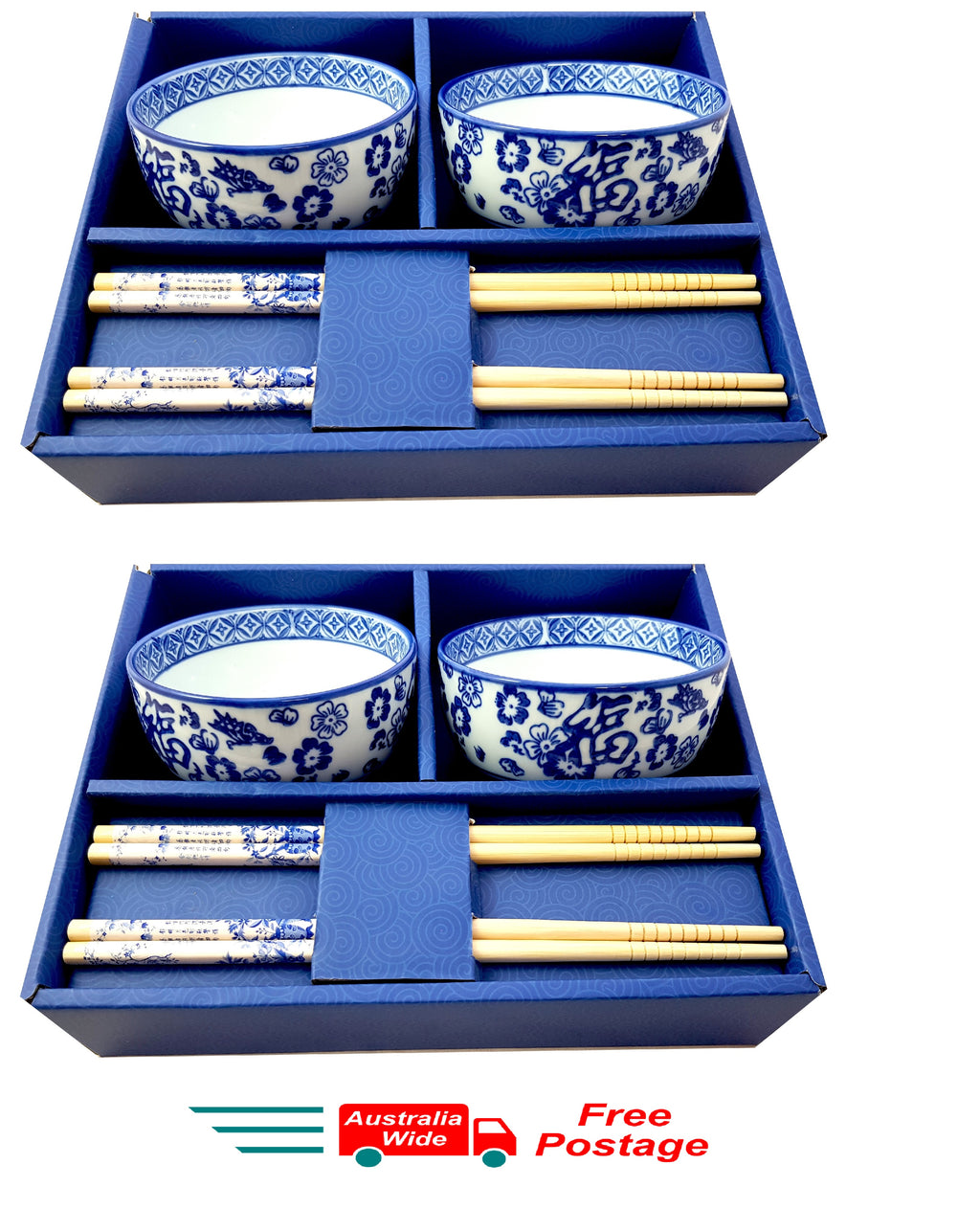 4 x CERAMIC CHINESE JAPANESE RICE SUSHI SASHIMI BOWLS WITH CHOPSTICKS HW317