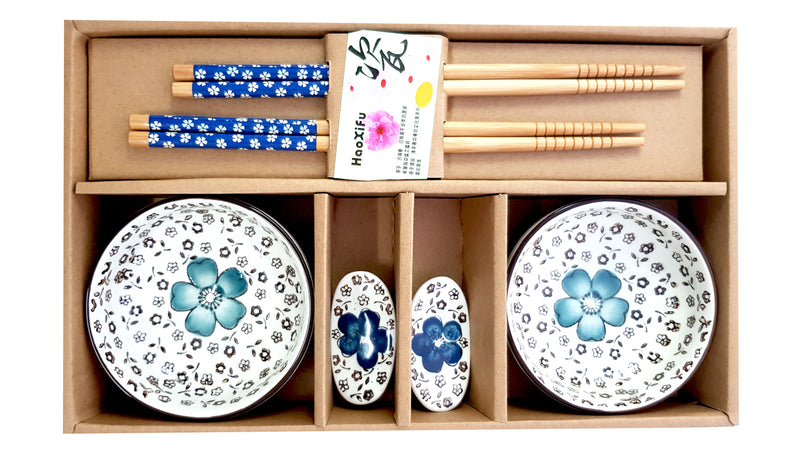 6 x CERAMIC CHINESE JAPANESE RICE SUSHI BOWLS CHOPSTICKS & CHOPSTICKS REST HW319