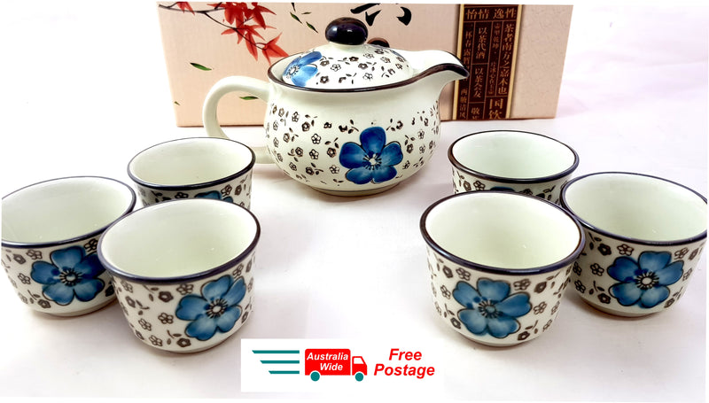 7 PIECE VINTAGE ORIENT CERAMIC CHINESE TEA SET TEAPOT TEACUP ASIAN STLYE HW320