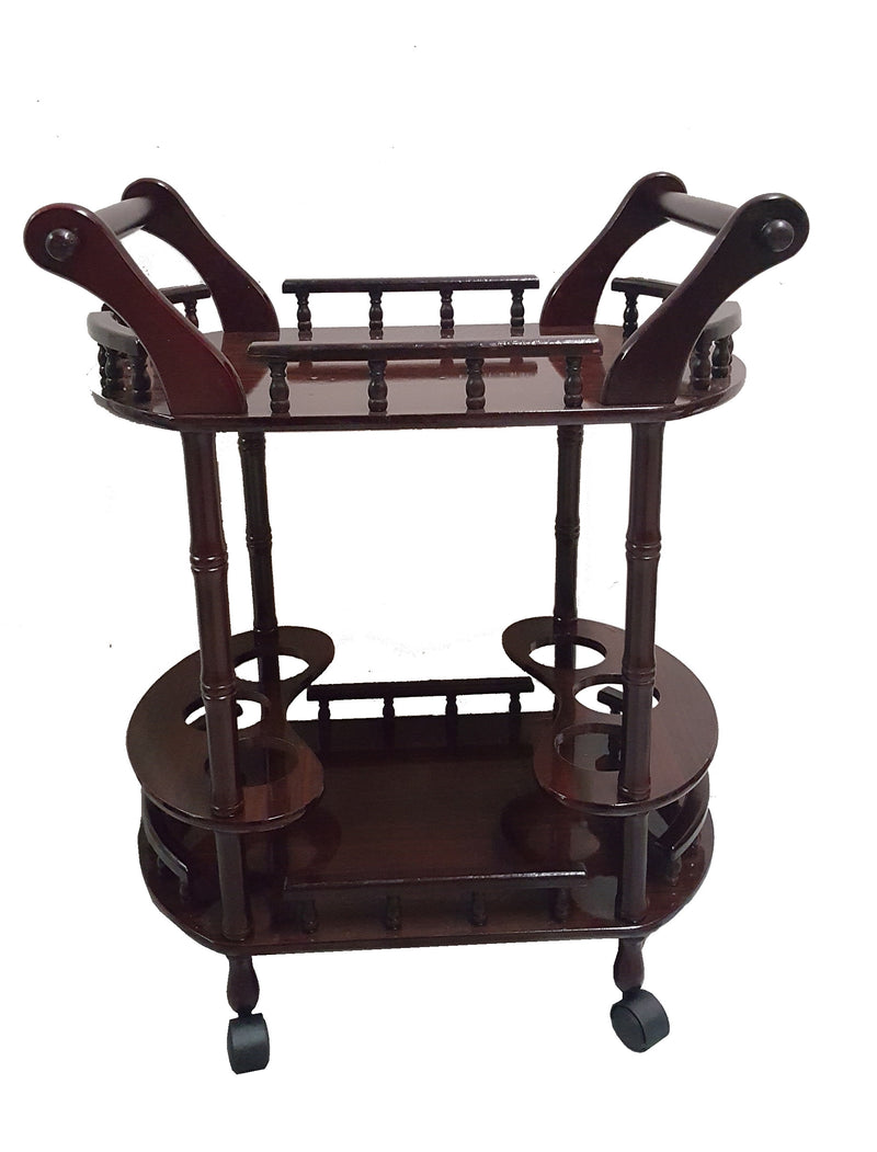 Wooden Drinks Trolley Bar Cart Lacquer Finish Glasses Wine Whiskey Beer Storage HW337