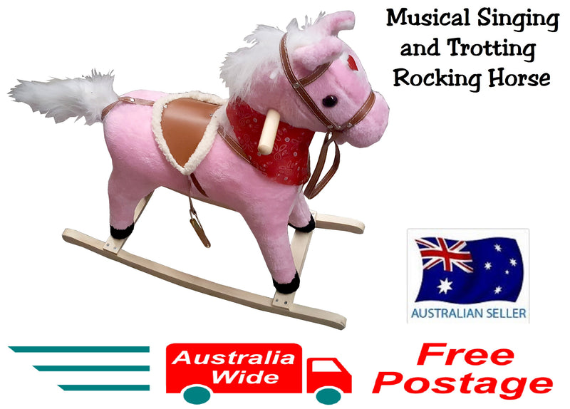 PLUSH KIDS ROCKING HORSE MOVES SINGS WITH WOODEN STAND & SADDLE PINK 75cm