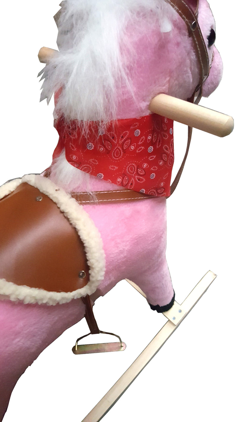 PLUSH KIDS ROCKING HORSE MOVES SINGS WITH WOODEN STAND & SADDLE PINK 75cmHW370