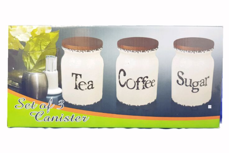 Set Of Three Sugar Tea Coffee Milk Barrel Canister Wooden Lid With Seal HW-367