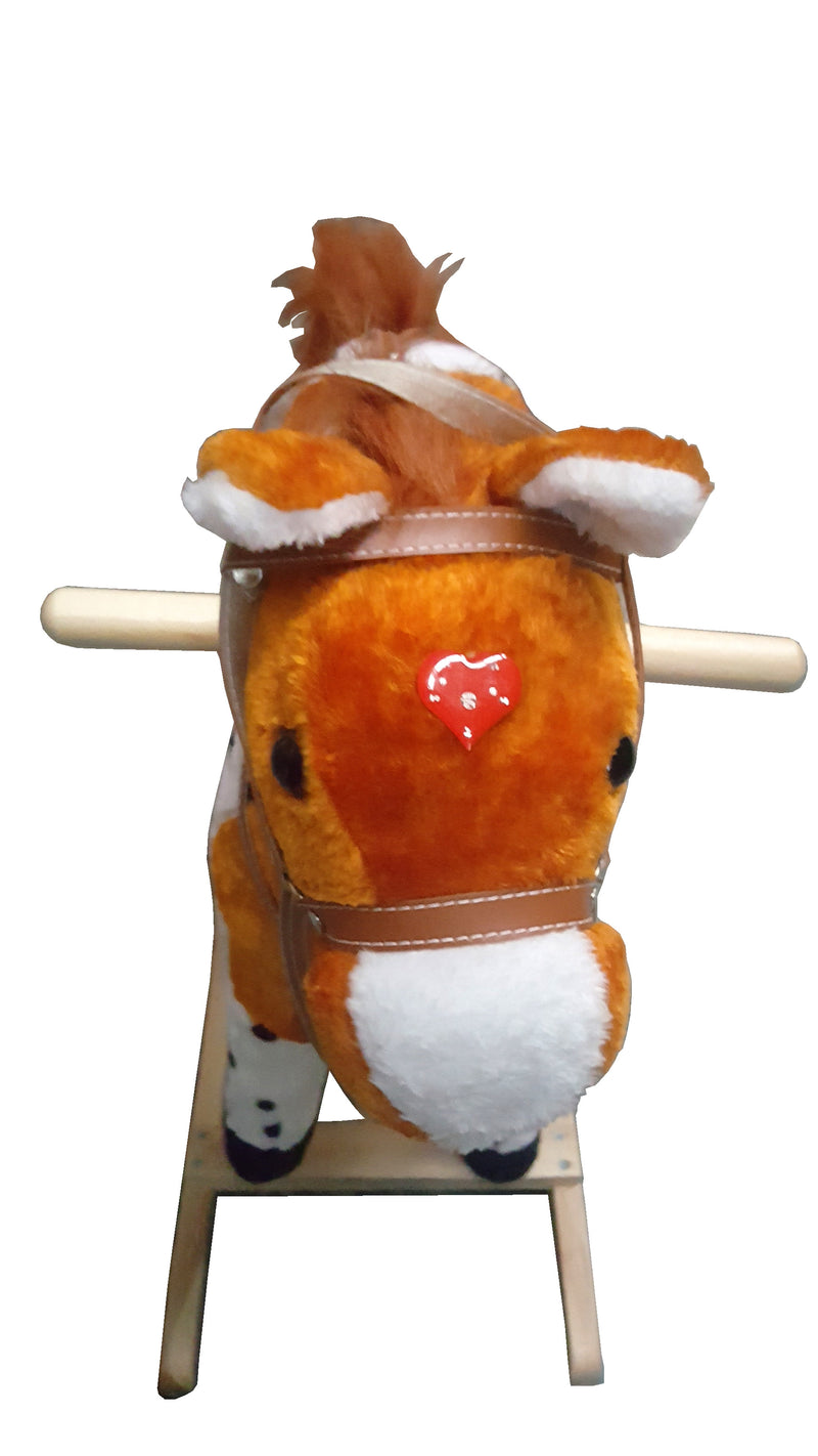 PLUSH KIDS ROCKING HORSE MOVES SINGS WITH WOODEN STAND & SADDLE TAN SPOTS 75cm