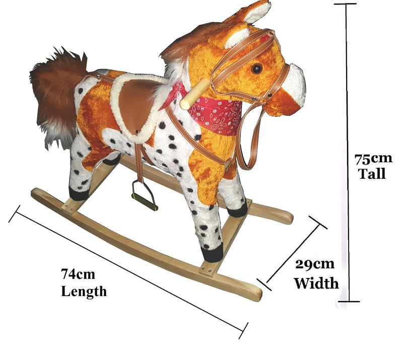 PLUSH KIDS ROCKING HORSE MOVES SINGS WITH WOODEN STAND & SADDLE TAN SPOTS 75cmHW371