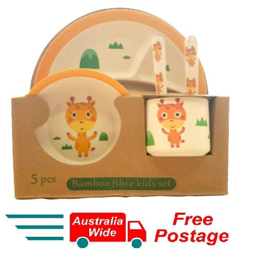 5 Piece Bamboo Fibre Kids Set Breakfast Lunch Dinner Set Giraffe HW-328