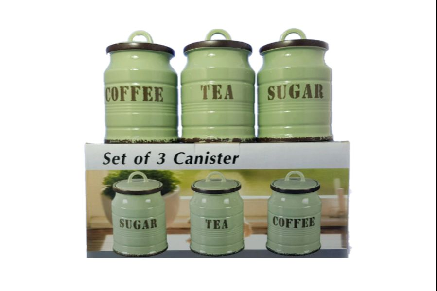 Set Of Three Sugar Tea Coffee Milk Barrel Canister Rubber Seal Green HW-362