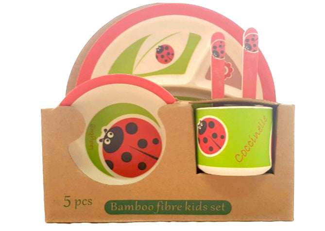 5 Piece Bamboo Fibre Kids Set Breakfast Lunch Dinner Set Lady Bug HW-328