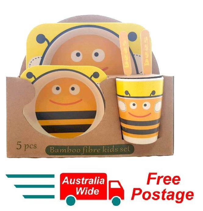 5 Piece Bamboo Fibre Kids Set Breakfast Lunch Dinner Set Bee HW-327