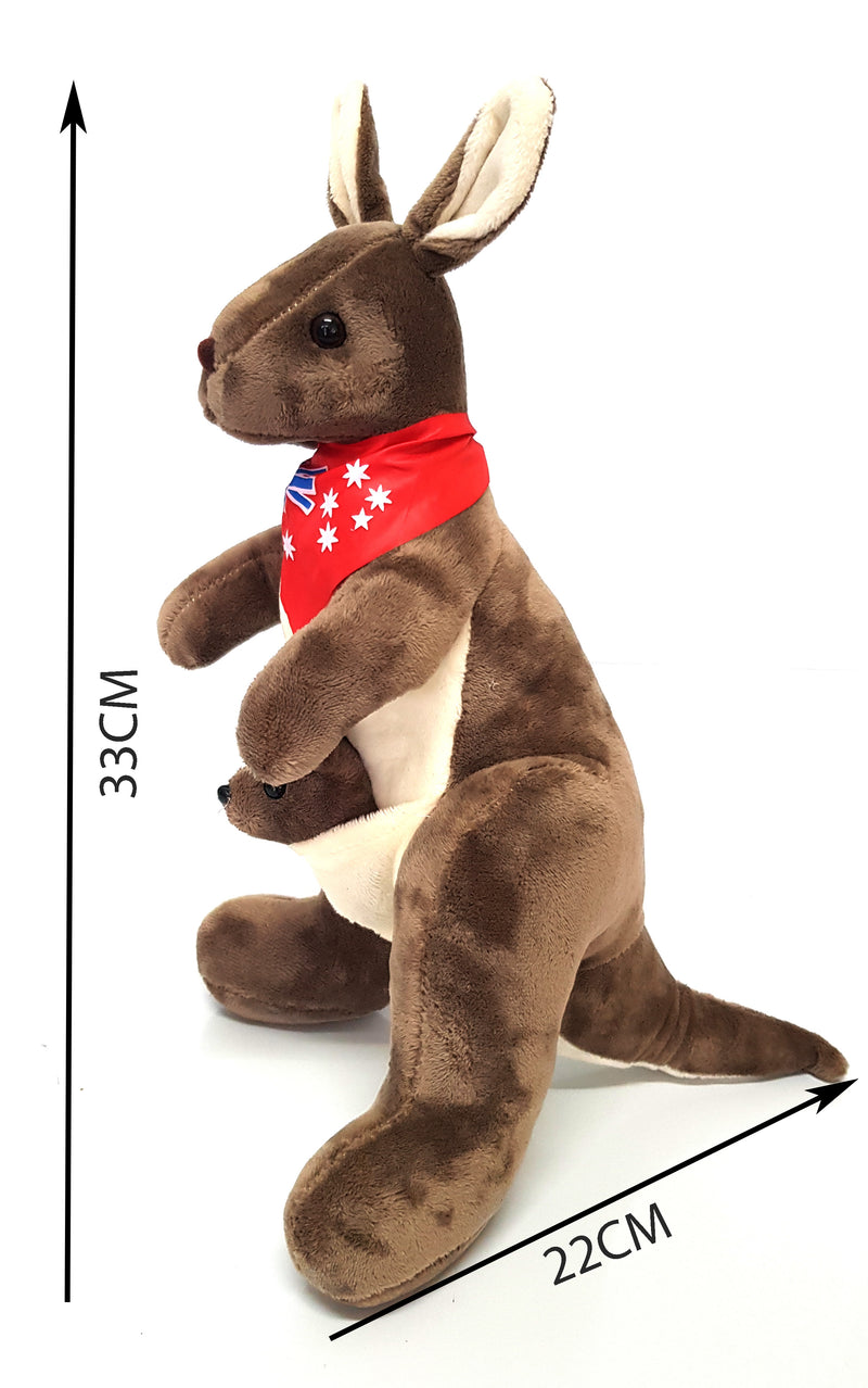 Australian Souvenir Soft Toy Kangaroo With Joey Tan With Red Scraf Flag HW675