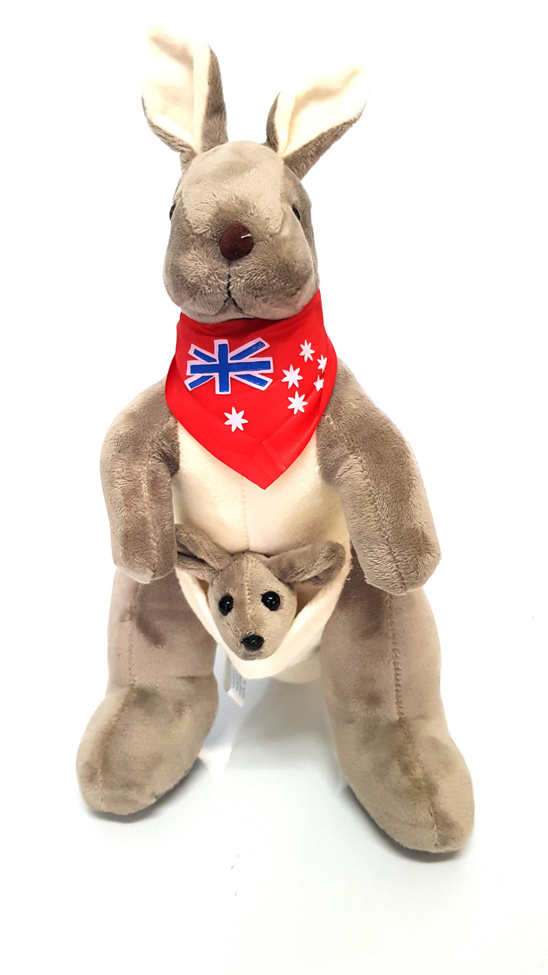 Australian Souvenir Soft Toy Kangaroo With Joey Grey With Red Scraf Flag HW675