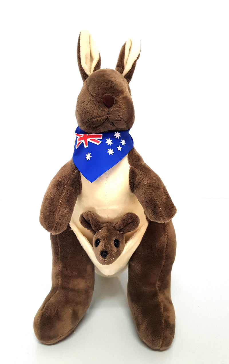 Australian Souvenir Soft Toy Kangaroo With Joey Mocha With Blue Scraf Flag HW675