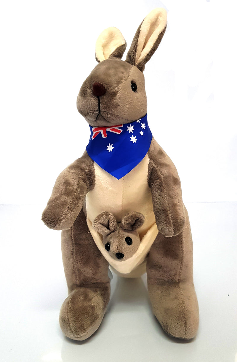 Australian Souvenir Soft Toy Kangaroo With Joey Grey With Blue Scraf Flag HW675
