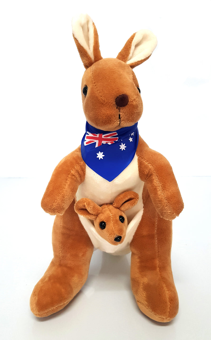 Australian Souvenir Soft Toy Kangaroo With Joey Tan With Blue Scraf Flag HW675