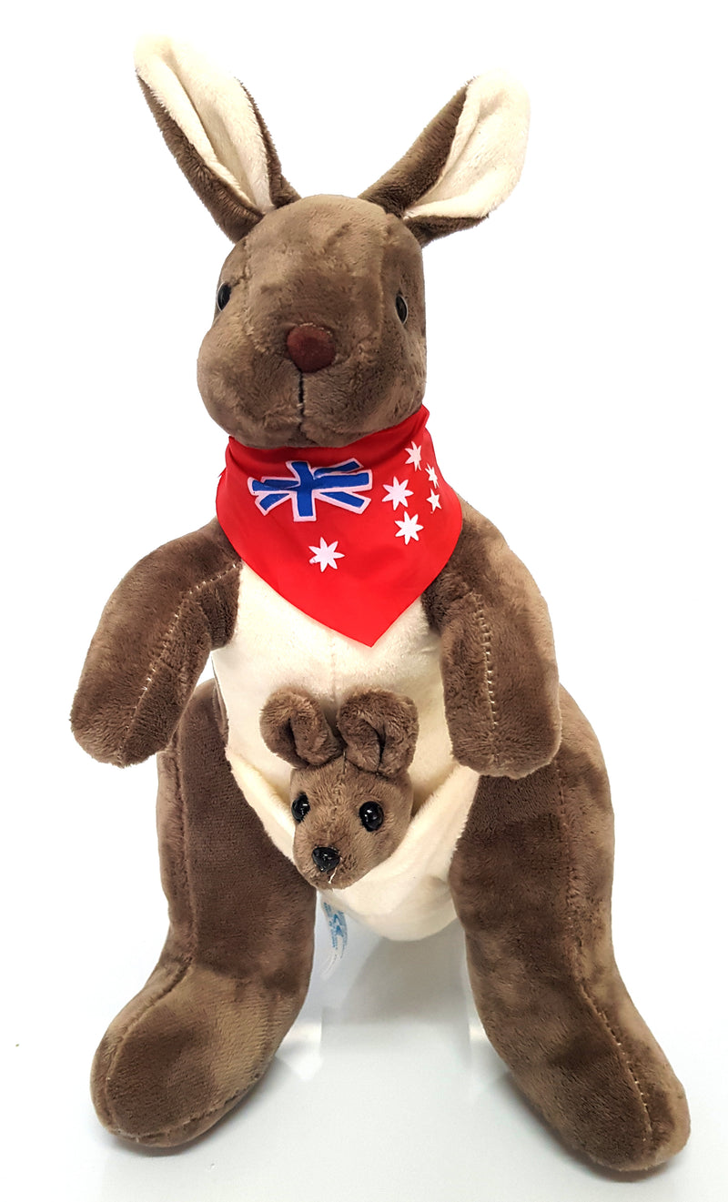 Australian Souvenir Soft Toy Kangaroo With Joey Mocha With Red Scraf Flag HW675