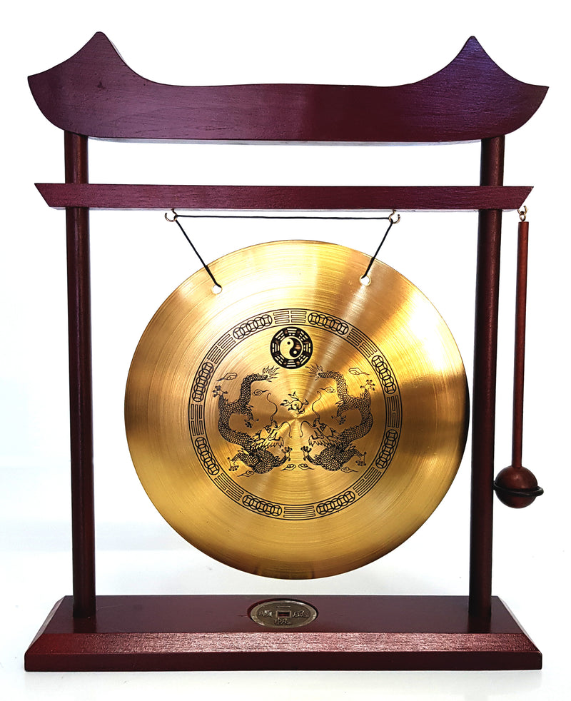 XTRA LARGE CHINESE DINNER & DECORATIVE BRASS DRAGON GONG & WOODEN STAND & HAMMER HW607