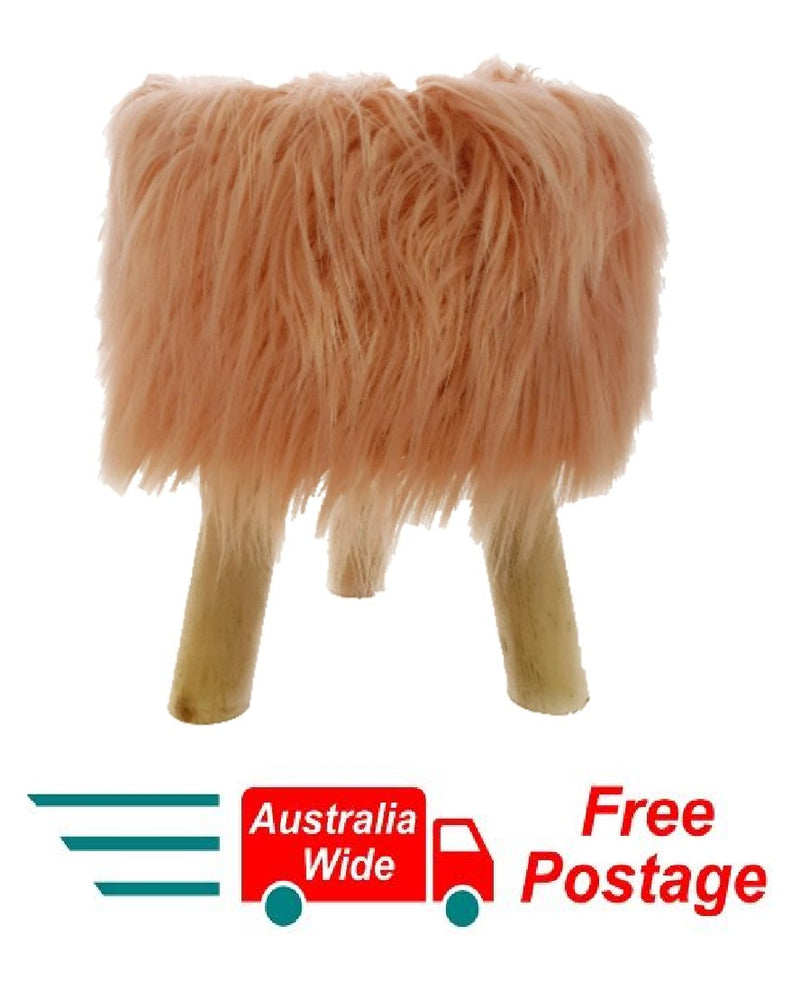 Modern Pink Fluffy Sitting Stool or Foot Stool Ottoman Pouffe with Padded Seat