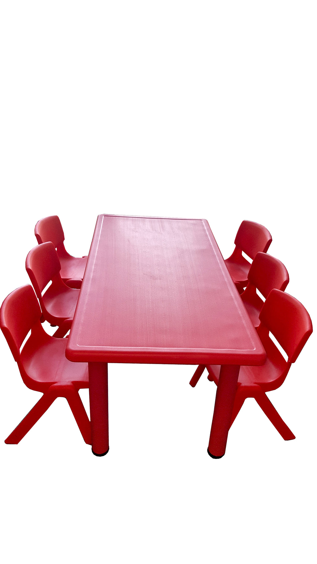 LARGE CHILDREN TODDLER KIDS ADJUSTABLE RED TABLE AND 6 RED CHAIRS 120cmX60cm