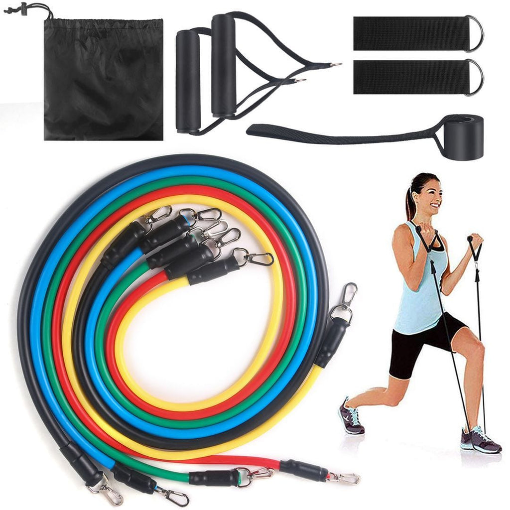 11Pcs Resistance Bands Tubes Workout Exercise Yoga Fitness Training Gym WH2040
