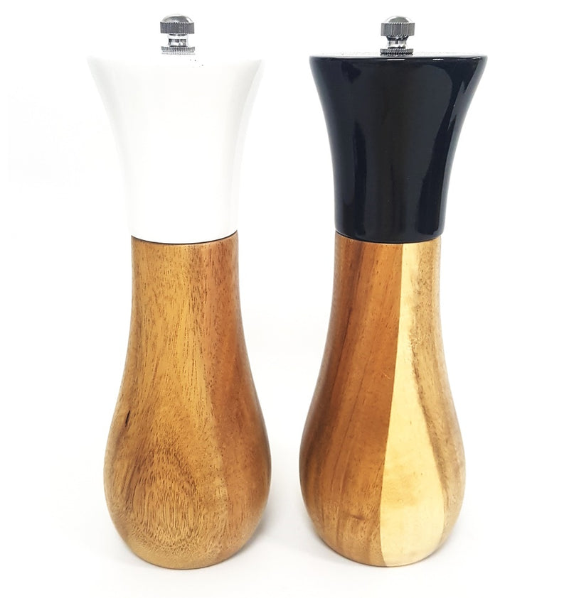 CERVE BY CLASSICA BLACK AND WHITE 15CM SALT AND PEPPER GRINDER ACICIA