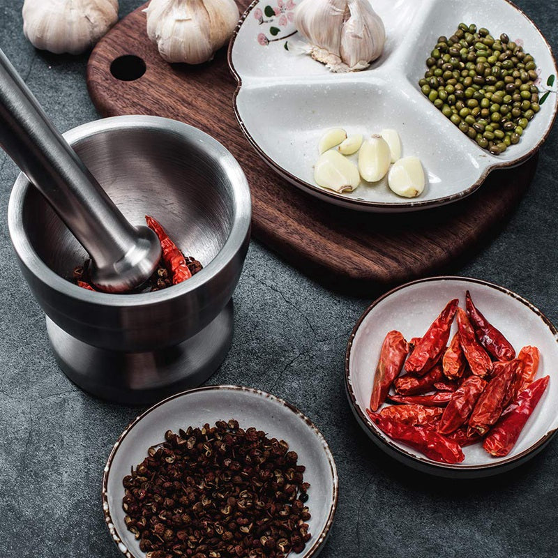 Stainless Steel Mortar and Pestle Garlic Spice Herbs Grinder Kitchen 12cm