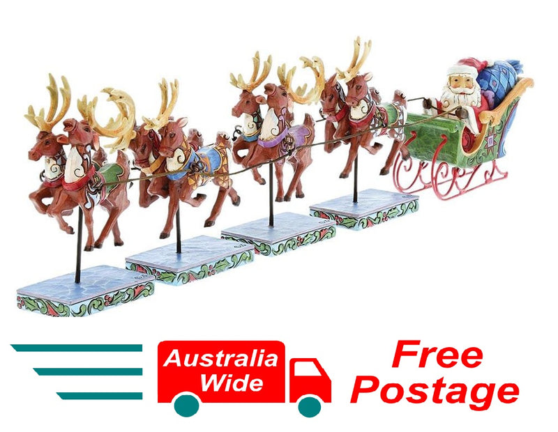 JIM SHORE MINI SANTA IN SLEIGH WITH REINDEER DASH AWAY ALL 5 PIECE SET
