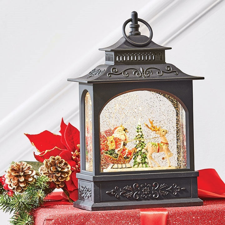 Raz Imports Christmas Water Lantern Santa on Sleigh With Glitter and Lights 3740513