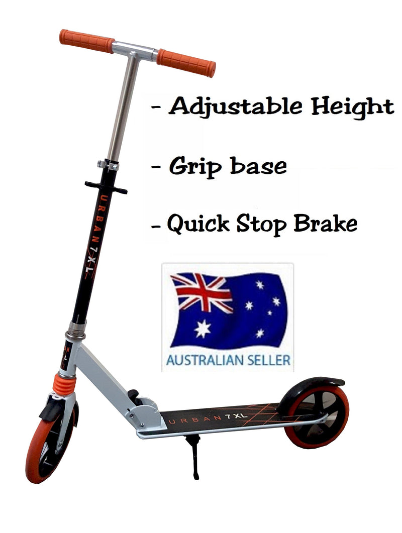 URBAN WHITE FOLDING SCOOTER ADJUSTABLE HEIGHT WITH NON SLIP BASE EASY BRAKE HW302