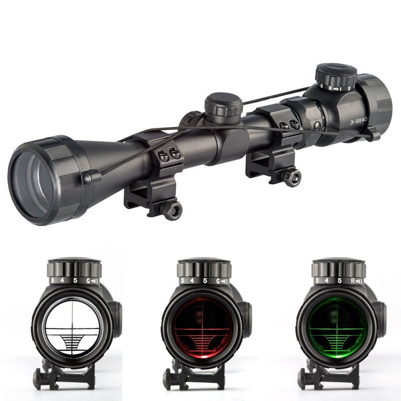 3-9x40EG Red Green illuminated Air Rifle Gun Hunting Shooting Rifle Scope Sight
