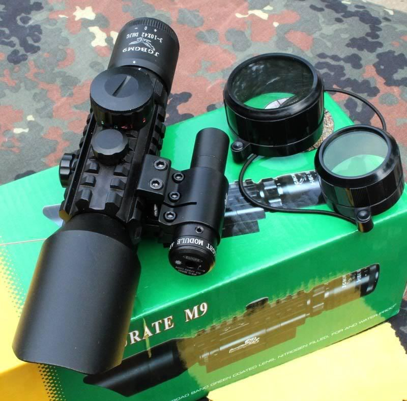 M9 3-10x42 Mil-Dot Reticle Red Green Illuminated Sight Rifle Scope With Red Laser for Airsoft Hunting Caza 20mm 11mm Mount Rail
