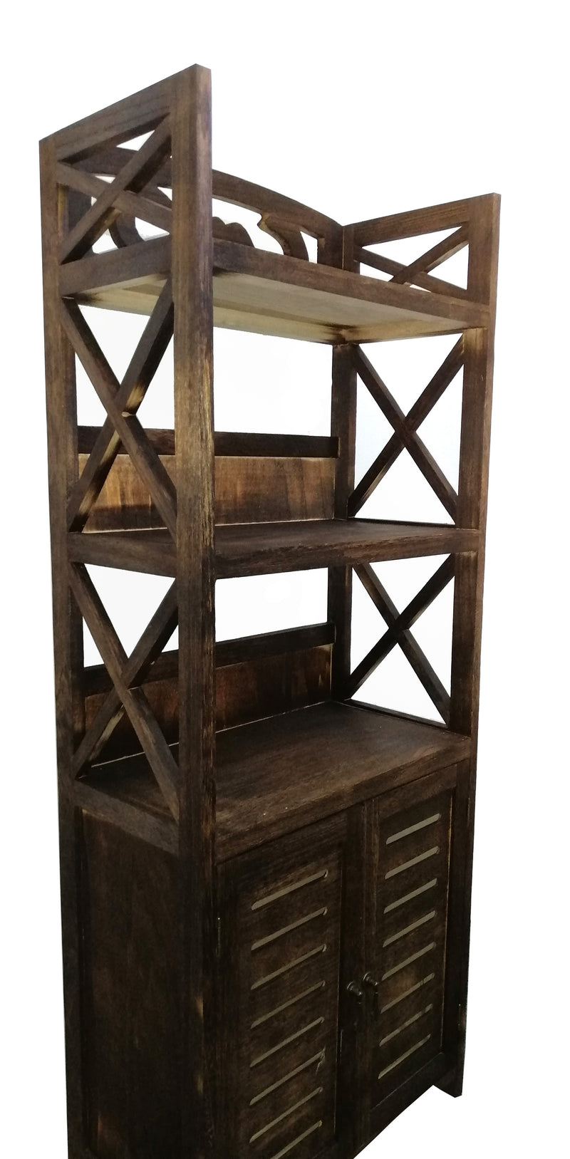 Washed Brown Wooden Shelf Unit Stand Shelves Organiser Compact With Doors HW-640B