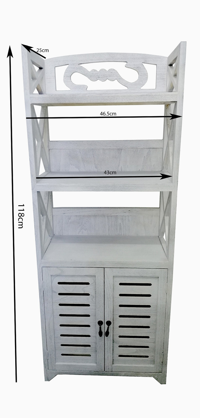 Washed White Wooden Shelf Unit Stand Shelves Organiser Compact With Doors HW-640W