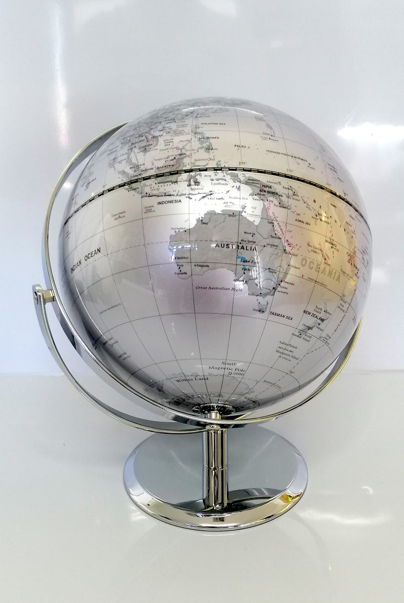 AMAZING HIGH QUALITY SILVER WORLD GLOBE DOUBLE AXEL WITH CHROME BASE HOME 25cm