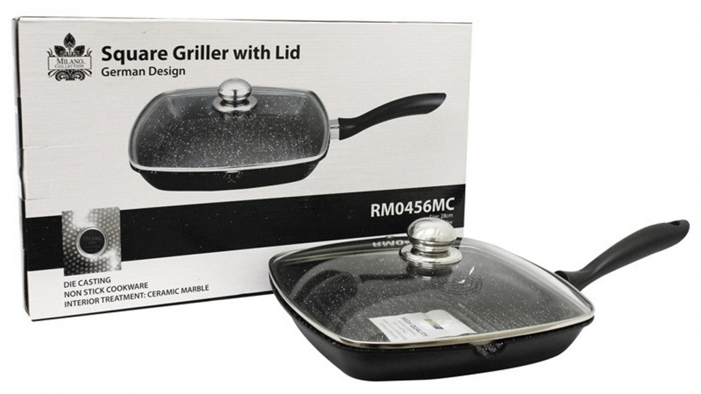 Milano Collection Square Griller Griddle Pan With  Glass Lid German Design 28cm RM0456MC