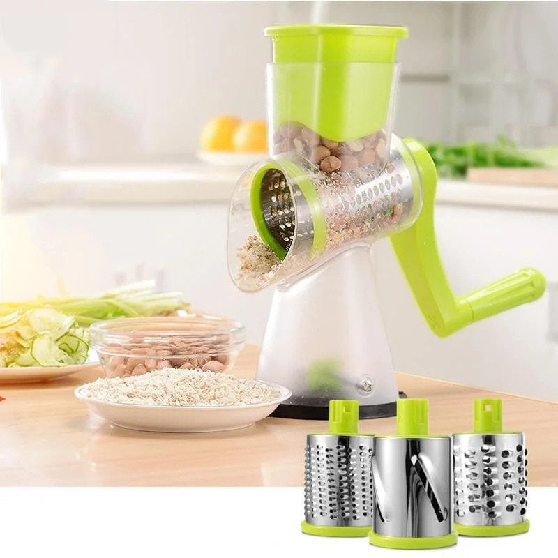 Round Manual Chopper Slicer Rotating Vegetable Cutting Machine Grater 3 Blades HW660