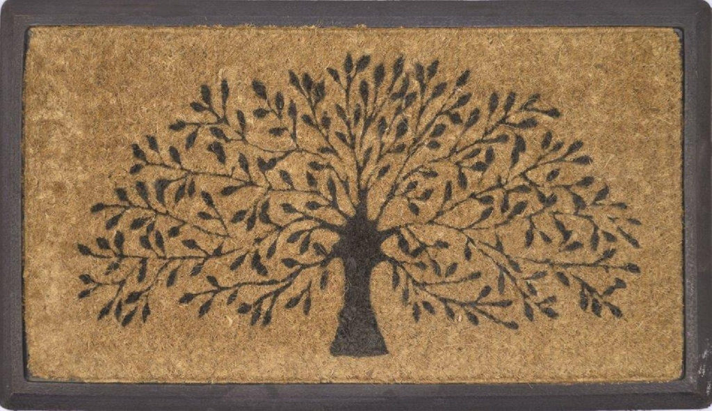 SOLEMATE DOOR MAT TREE OF LIFE NATURAL COIR ON RUBBER OUTDOOR DOORMAT