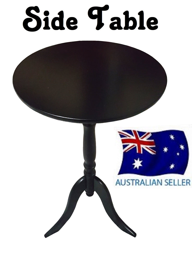 SIDE TABLE BLACK COFFEE TABLE BEDSIDE ROUND LAMP HOME OFFICE FURINATURE WOOD
