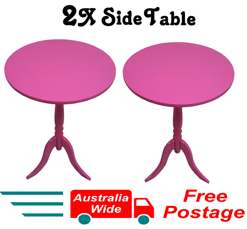 2X SIDE TABLES PINK COFFEE TABLE BEDSIDE ROUND LAMP HOME OFFICE FURINATURE WOOD