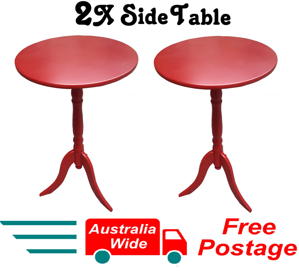 2X SIDE TABLES RED COFFEE TABLE BEDSIDE ROUND LAMP HOME OFFICE FURINATURE WOOD