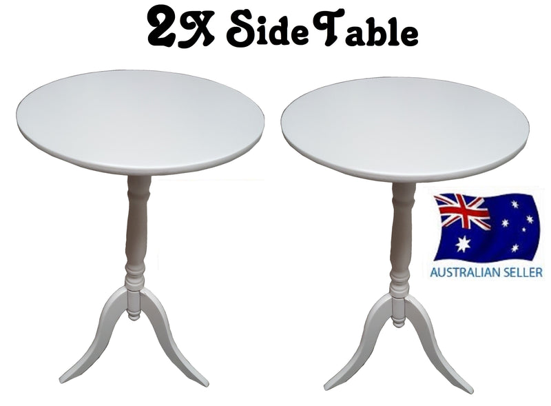 2X SIDE TABLES WHITE COFFEE TABLE BEDSIDE ROUND LAMP HOME OFFICE FURINATURE WOOD
