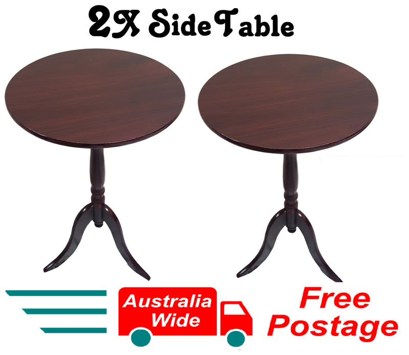 2X SIDE TABLES WOOD GRAIN COFFEE TABLE BEDSIDE ROUND LAMP HOME OFFICE FURINATURE WOOD