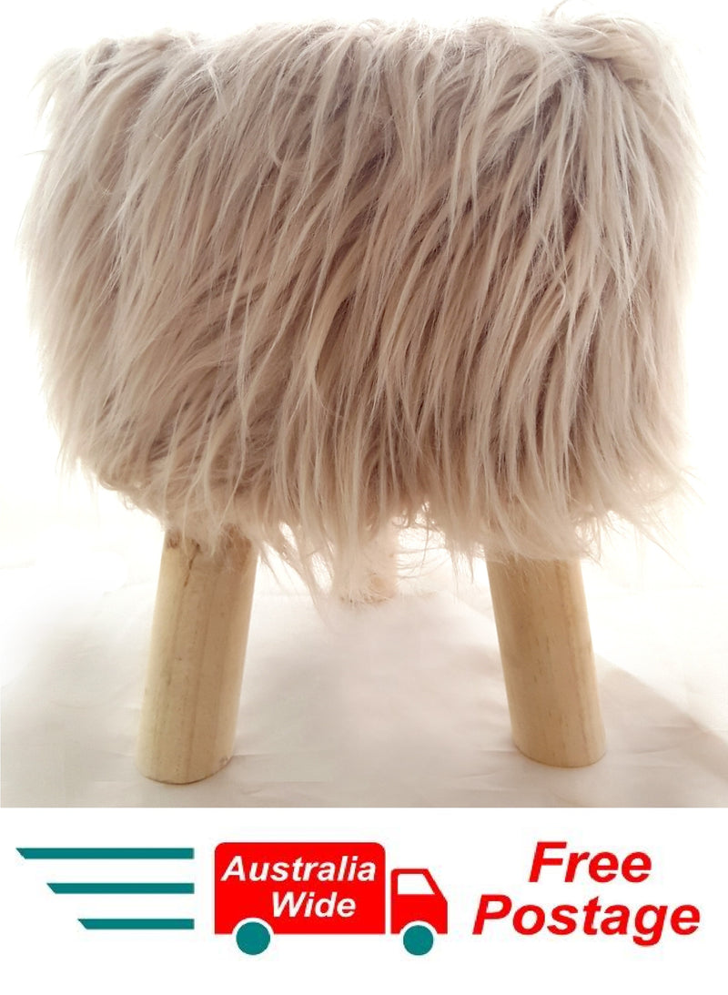 Modern Tan Fluffy Sitting Stool or Foot Stool Ottoman Pouffe with Padded Seat