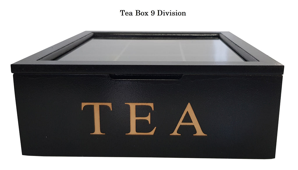 BLACK WOODEN TEA BOX CONTAINER GLASS LID 9 DIVISIONS HOLDS 90 BAGS HW325