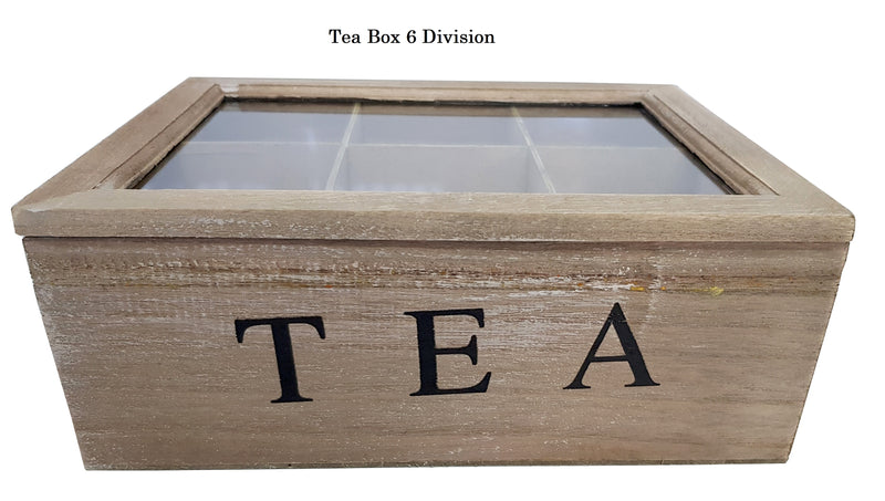 WOODEN WASH MODERN TEA BOX CONTAINER GLASS LID 6 DIVISIONS HOLDS 60 BAGS HW605