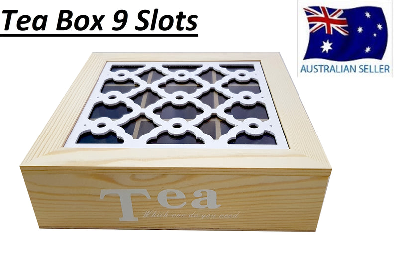 WOODEN TEA BOX CONTAINER GLASS LID 9 DIVISIONS HOLDS 90 BAGS HW331