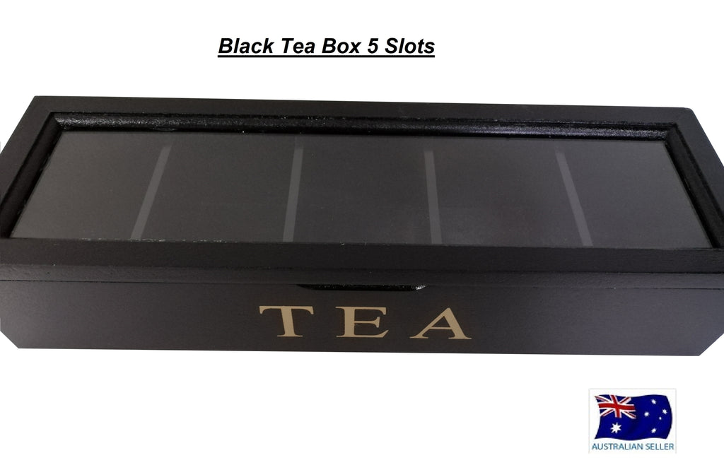 BLACK WOODEN TEA BOX CONTAINER GLASS LID 5 DIVISIONS HOLDS 50 BAGS HW324